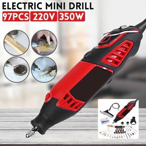 220V 350W Mini perceuse électrique à vitesse variable broyeur électrique outil rotatif avec 91 pièces accessoires tout neuf