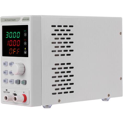 220V DC 0-30V 0-10A programable Fuente de alimentacion Regulador de la exhibicion de LED de 4 digitos voltaje y corriente Mini fuente de alimentacion regulada con los plomos de cocodrilo