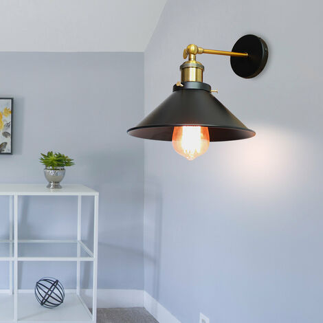 22cm Metal Iron Wall Lamp Industrial Ceiling Light Black Retro Wall Sconce Vintage Wall Light