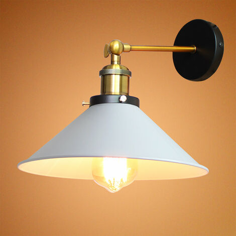 22cm Metal Iron Wall Lamp Industrial Ceiling Light Retro Wall Sconce Vintage Wall Light White