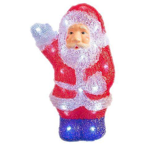 22cm White LED Santa