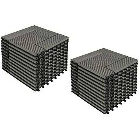 22er-Set WPC Terrassenfliese, Bodenbelag für Terrasse