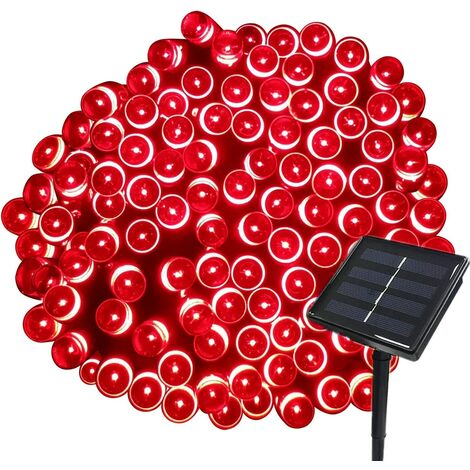 22M Solar Garland 200 LED 8 Light Sets Ideal for Party, Wedding, Birthday and Outdoor Garden (Red)