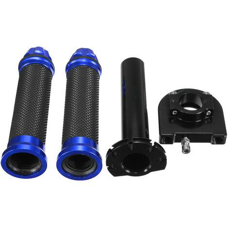 22mm 7/8 pouces CNC en aluminium guidon poignée à main accélérateur Twist Tube moto vélo (bleu, 1 paire)