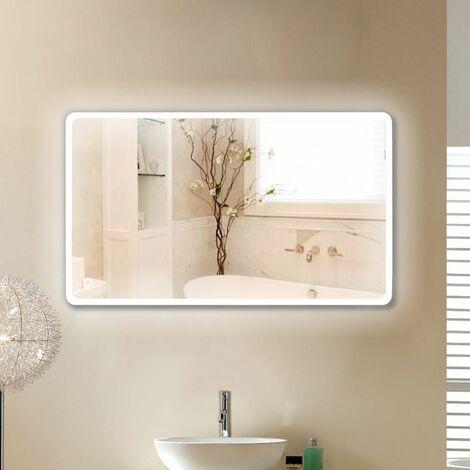 22W Miroir LED Lampe de Miroir 120×70CM Miroir Lumineux Verre Trempé Blanc Froid 6400K - Blanc froid