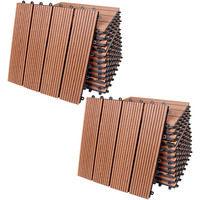 22x Dalle de terrasse en bois composite WPC Classique Terre cuite 30x30cm Jardin