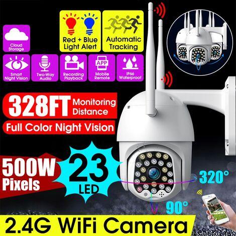 23 LED 5.0MP Double Antennes 5DB Caméra IP WiFi Extérieure HD EU Prise