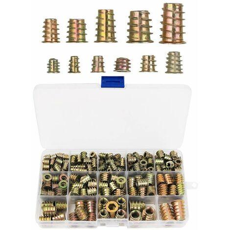 230 Pièces Alliage de Zinc Insert Fileté Hexagonale Écrous Inserts Fileté Insert Écrous Filetage Extérieur M4 M5 M6 M8 M10 pour Kit d'outils d'écrou pour Meubles en Bois
