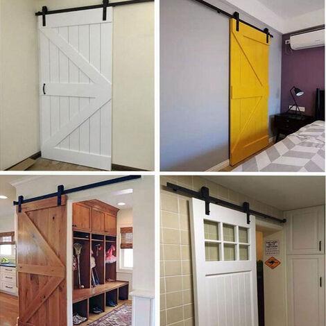 230cm Barn Pulley Door,Hardware Kit Sliding Track Black Steel Slide Track Rail Door Antique Retro Sliding Door