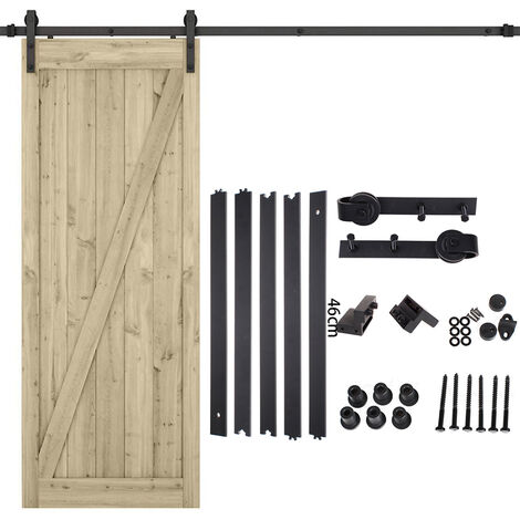 230cm Barn Pulley Door,Hardware Kit Sliding Track Steel Slide Track Rail Door Antique Style Sliding Door Black for Sliding Panel Wood Door Closet Cabinet