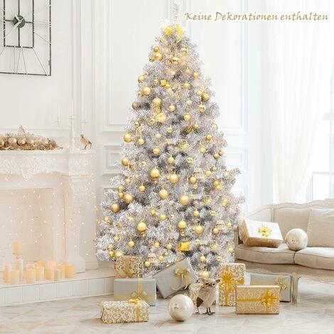"""main image of """"230cm Weihnachtsbaum, Silbriger Kunstbaum,Tannenbaum mit Metallstaender, Künstlicher klappbarer Christbaum Elektrogalvanisierung"""""""