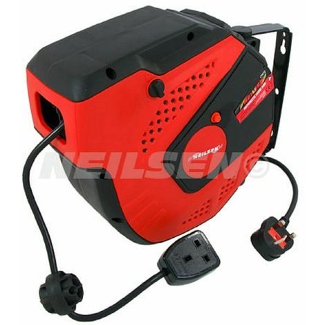 230V Automatic Cable Reel Recoil Extension -15M + 1M BS Socket & Plug