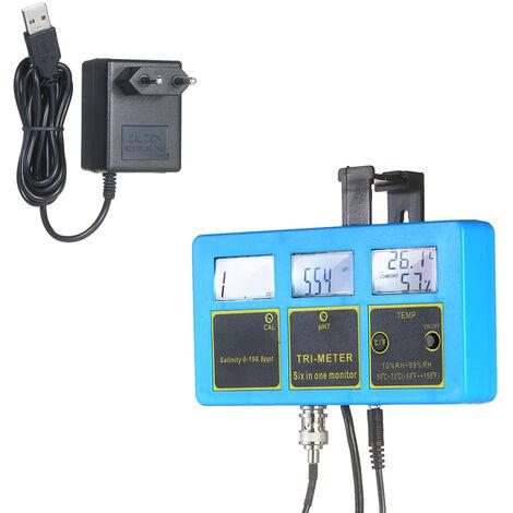 230V Moniteur Qualite De L'Eau 3-En-1 Ph / Salinite / Temp Compteur Rechargeable Qualite De L'Eau Testeur Detecteur