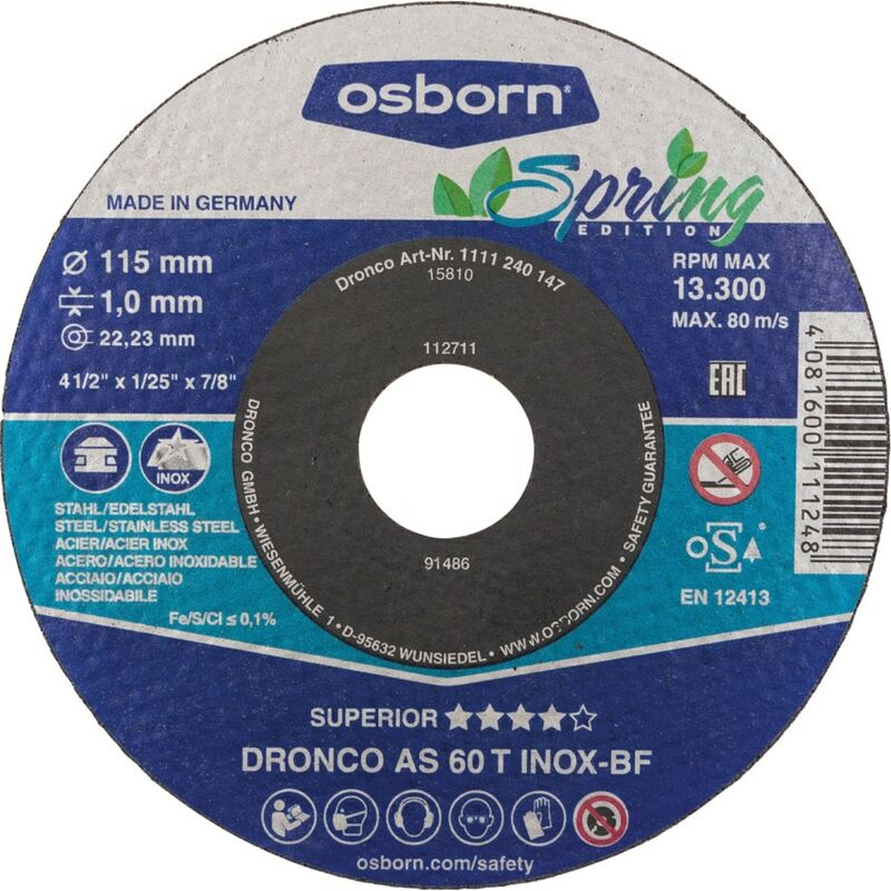Image of 115X1X22.23MM AS60 Inox BF Cut-off Disc- you get 5 - Dronco