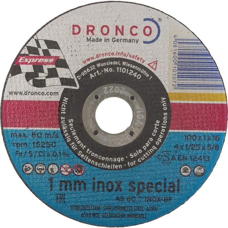 Image of 100X1X16MM AS60 Inox BF Cut-off Disc - Dronco