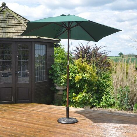 """main image of """"2.3m Wooden Garden Parasol 36mm Shaft & Pulley - Green"""""""