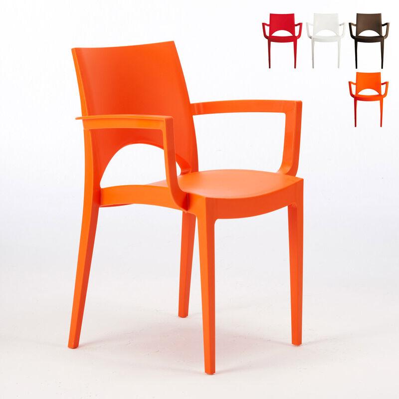 24 Chaises Paris Arm accoudoirs polypropylène offre stock   Orange - Grand Soleil
