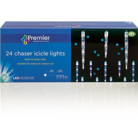 24 Chaser Icicles with 72 LED's - White