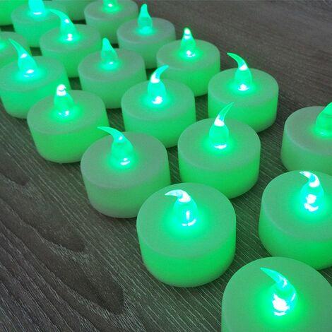 24 Efecto de llama de velas verdes LED