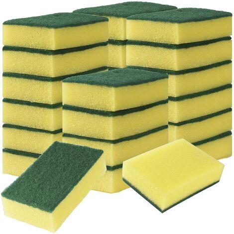24 éponges pour la vaisselle, éponges à récurer anti-rayures avec tampons à récurer abrasifs, éponges à vaisselle double face de 3,94 x 2,8 x 1,2 pour laver la vaisselle ou nettoyer la cuisine à domicile