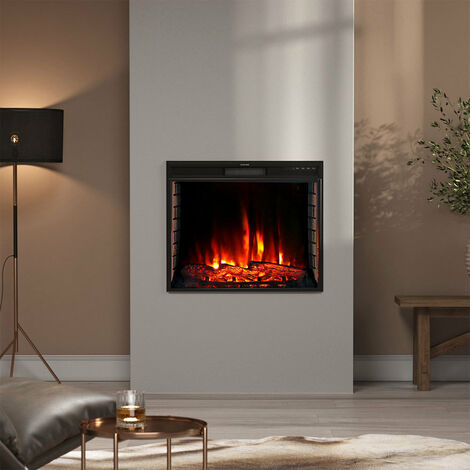 24 inch Electric LED Fireplace Wall Inset Mounted Heater 7 Flame Colours