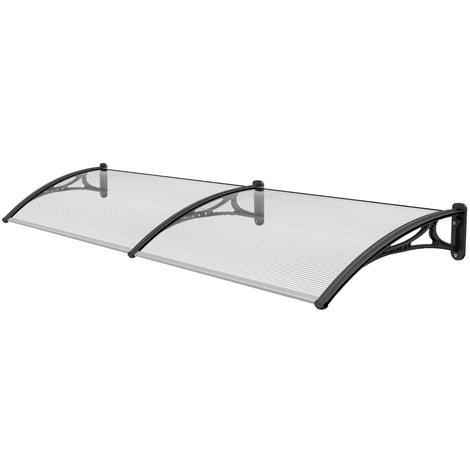 2.4 m Door Canopy Awning Shelter Patio Cover Extendable Canopies Black CP0002-2