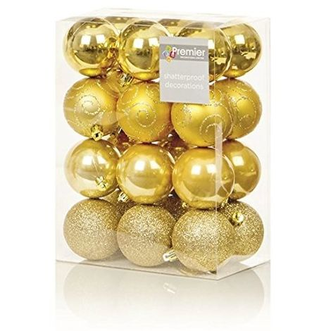 24 Pack Shatter-proof Christmas Baubles Multi-Finish - Gold