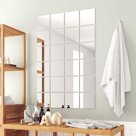 24 pcs Mirror Titles Square Glass - Silver