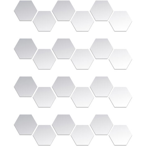 24 pieces de miroir acrylique hexagone stickers muraux bricolage decoration de la maison miroir stickers muraux, taille noire 10 * 8.5 * 5 cm