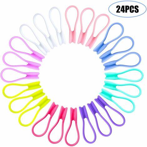 24 pinzas magnéticas para cables, pinzas magnéticas para clip reutilizable, se adapta a auriculares, cable USB, marcadores, llavero (varios colores al azar)