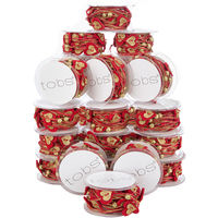 24 Reels Chrismas Fabric Sring Ribbon Decoration Decor Craft Supplies 120m Festive Golden Hearts Red Present Wrap