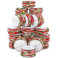 24 Reels Chrismas Fabric Sring Ribbon Decoration Decor Craft Supplies 120m Festive Red, White and Green Present Wrap
