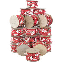 24 Reels Chrismas Fabric Sring Ribbon Decoration Decor Craft Supplies 120m Festive Red With White Stars Present Wrap