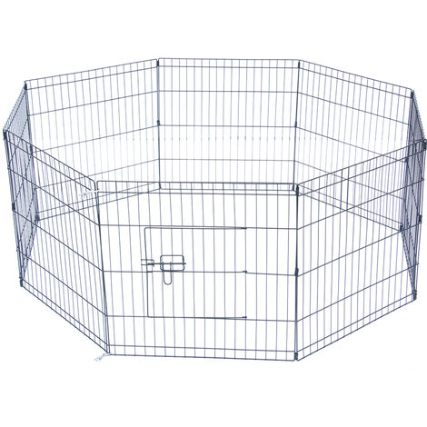 "24"" Tall Wire Fence Pet Dog Cat Folding Exercise Yard 8 Panel Metal Play Pen"