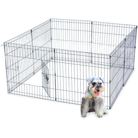 "24"" Tall Wire Fence Pet Dog Cat Folding Exercise Yard 8 Panel Metal Play Pen QWGT694-24"