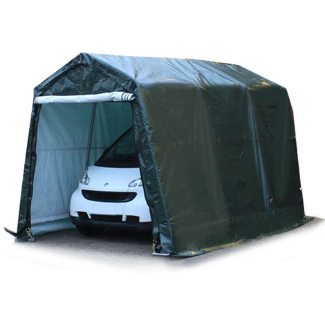 2,4 x 3,6 m Portable Garage Storage Shed Shelter Tent Carport Car Canopy 240 g/m³ PE in darkgreen