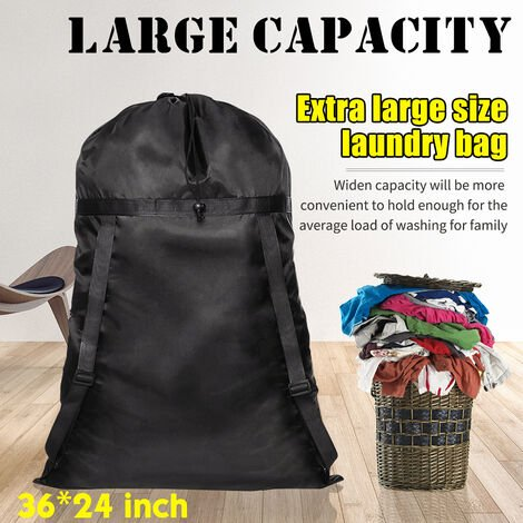 """24 """"X36"""" black polyester laundry bag backpack drawstring storage travel dirty clothes holder Mohoo"""