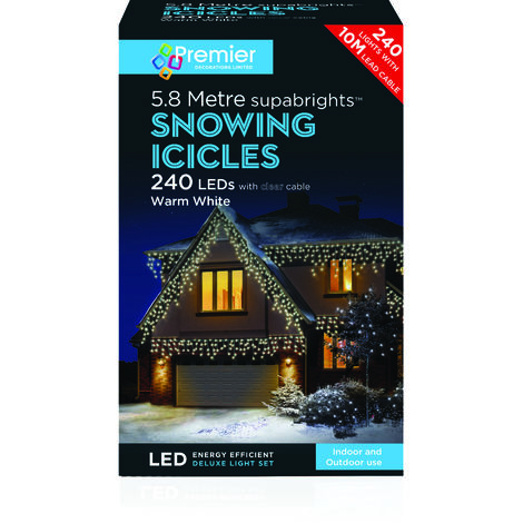 240 LED Snowing Icicles - Warm White