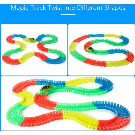 240 PCS 55mm Twist Railway Flexible Assembl¨¦e Neon Glow dans les blocs de piste de course des t¨¦n¨¨bres pour les enfants