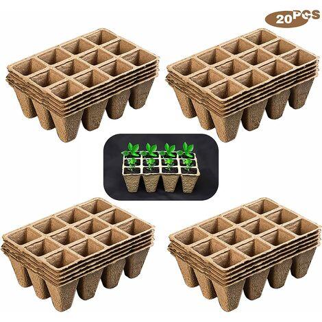 240 Pot semis Biodegradable, Pots de Pépinière Dégradables, Pots de Fleurs Carrés, 20 Morceaux de 12 Grilles pour Planter des Plantes, des Fruits et des Légumes dans Le Jardin