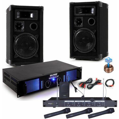 2400 vatios PA karaoke sistema de música amplificador cajas radio micrófono DJ fiesta 8
