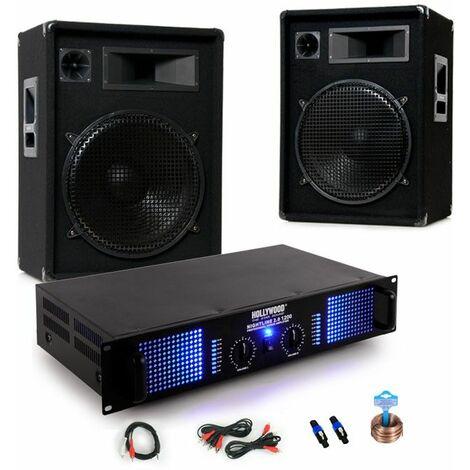 2400W Party PA sistema de música amplificador amplificador de potencia cajas de altavoces cable DJ -353