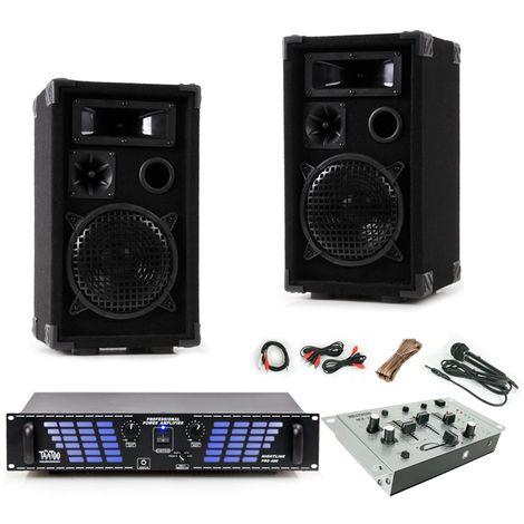 2400W Set mit Verstärker Boxen Mixer und Mikrofon DJ-477