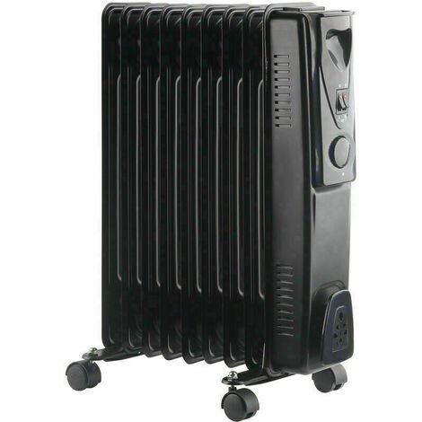240V Oil Filled Radiator 9 Fin 2000W Portable Electric Heater 3 Heat Thermostat