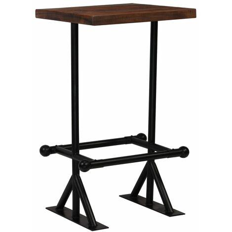 Bar Table Solid Reclaimed Wood Dark Brown 60x60x107 cm