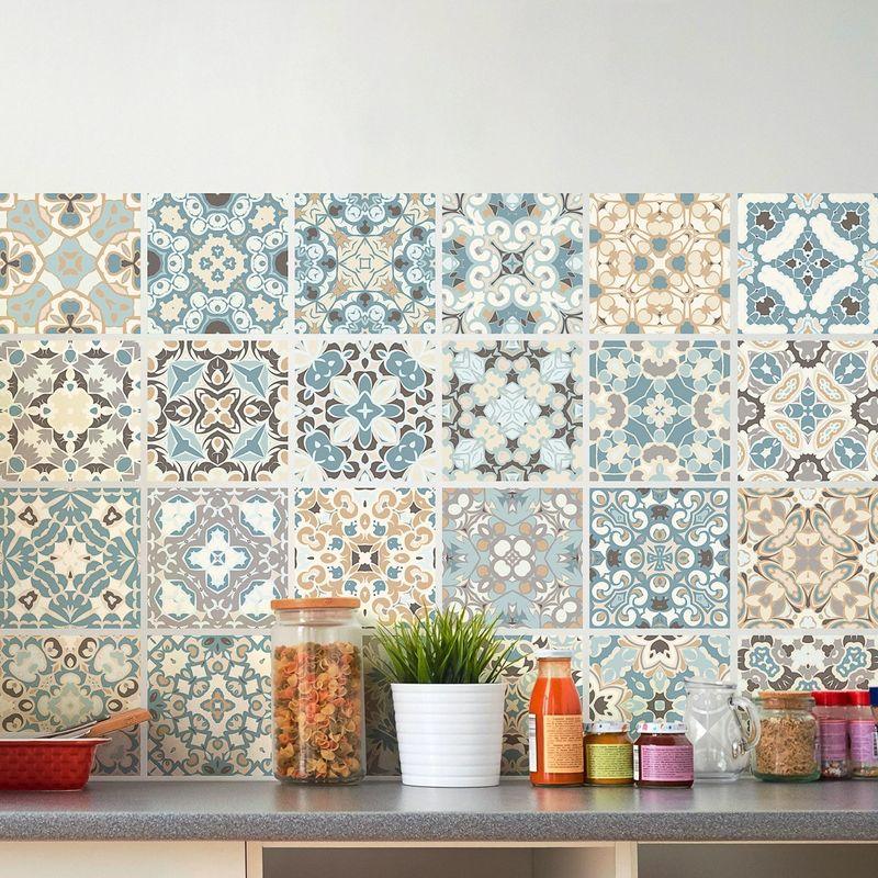 24 adesivi adesivi piastrelle | Adesivo Piastrelle – Mosaico Piastrelle a  Parete Bagno e Cucina | Piastrelle Adesivo – Design originali – 10 x 10 cm  – ...