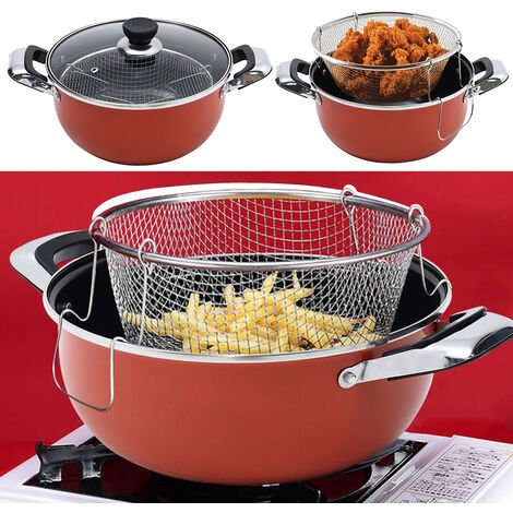 24CM Chip Pan Deep Fat Fryer Cooking Pot Frying Basket With Glass Lid Set