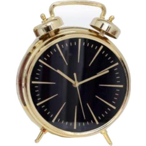24cm Freestanding Alarm Style Gold Clock