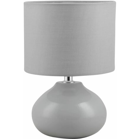 24cm Table Lamp Bedside LightsGrey Pink White Blue or Ochrewith Shades