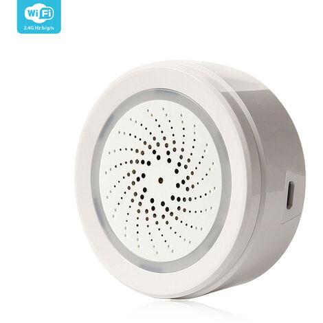 2.4G sans fil USB 120dB sirene capteur d'alarme thermometre hygrometre systeme de securite a domicile moniteur d'humidite de la temperature avec alerte APP notification via smartphone telecommande prise en charge Amazon Alexa fonctionne avec Google Home I